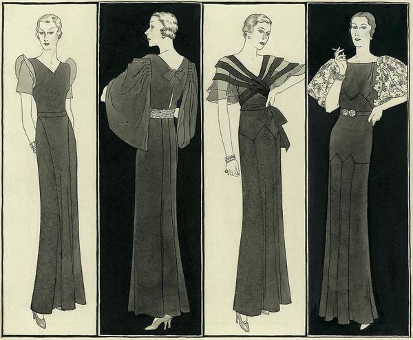 Illustration Of Four Women In Evening Dresses Poster