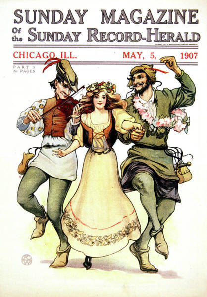 Illustration Of Medieval May Day Folk Poster