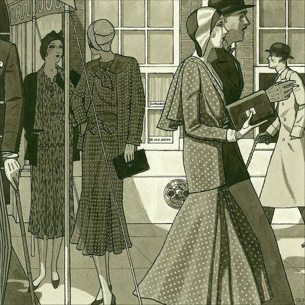 Illustration Of Men And Women Exiting Building Poster