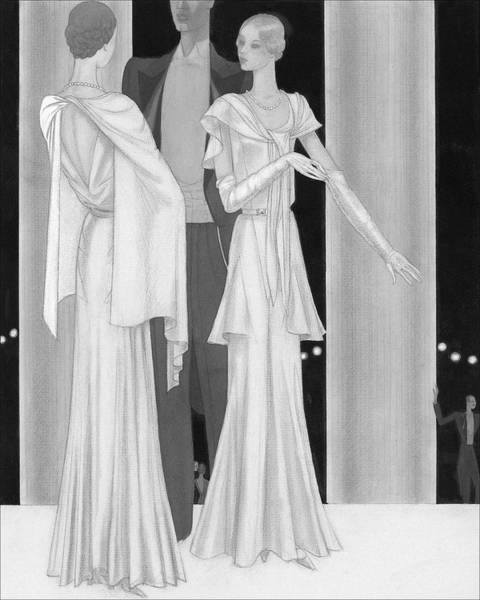Illustration Of Two Women Wearing Evening Dresses Poster