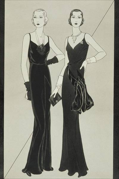 Illustration Of Two Women Wearing Mainbocher Poster