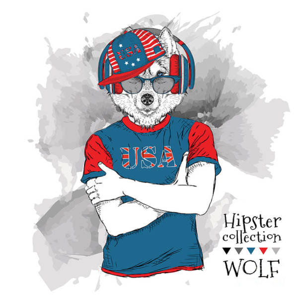 Illustration Of Wolf  Dressed Up In The Poster