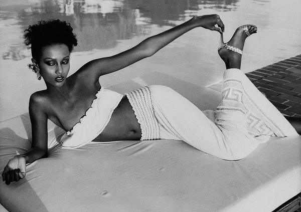 Iman Wearing A Yves Saint Laurent Skirt Poster