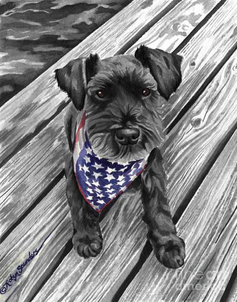 Watercolor Schnauzer Black Dog Poster