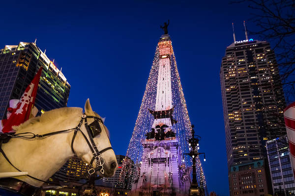 Indiana - Monument Circle With Lights And Horse Poster