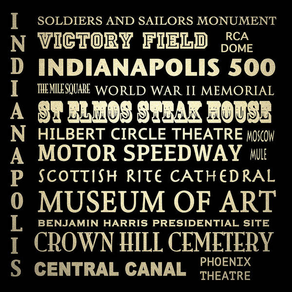 Indianapolis Famous Landmarks Poster