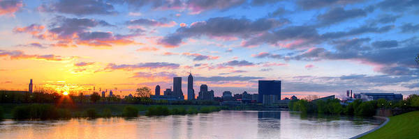 Indianapolis Indiana Sunrise Panoramic Hdr Poster