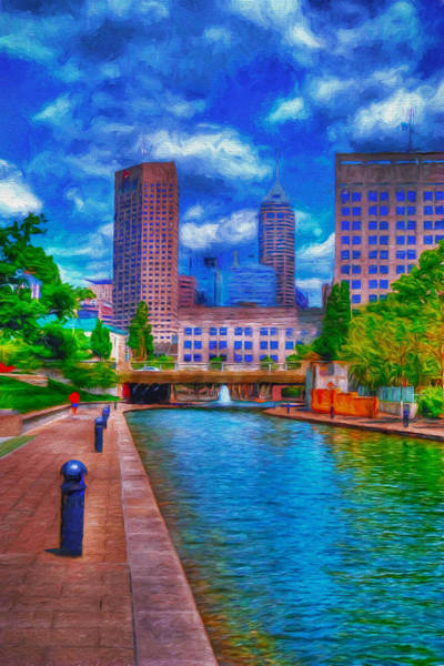 Indianapolis Skyline Canal View Digitally Painted Blue Poster