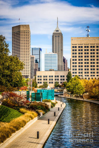 Indianapolis Skyline Picture Of Canal Walk In Autumn Poster