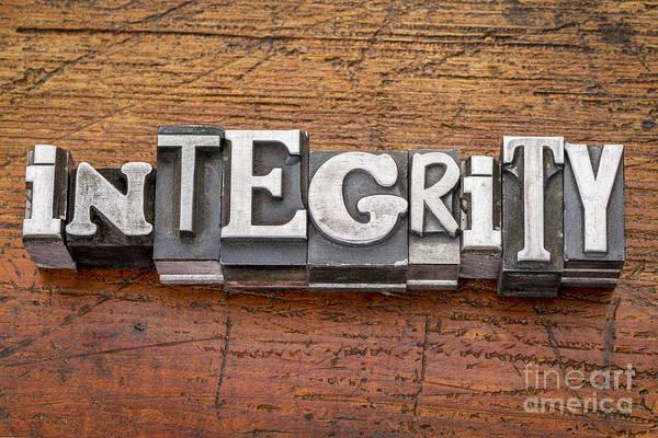 Integrity Word In Metal Type Poster