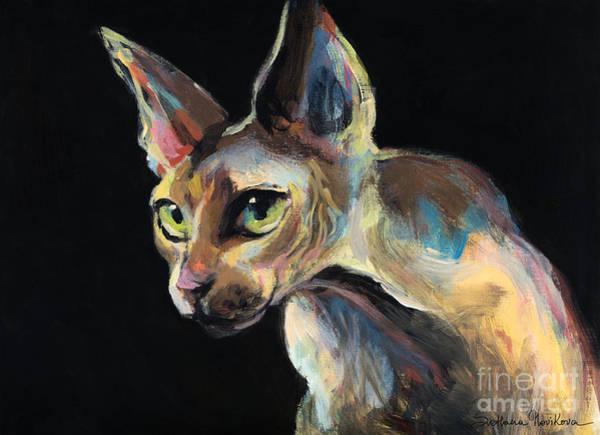 Intense Sphinx Sphynx Cat Art Painting Poster