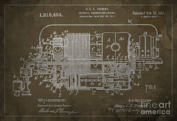 Internal Combustion Engine Patent - 1917 Poster