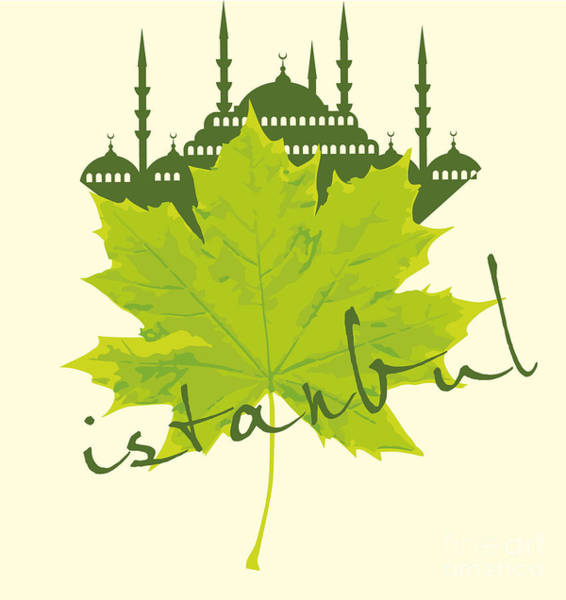 Istanbul City And Sycamore Leaf Vector Poster