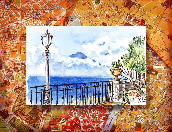Italy Sketches Sorrento View On Volcano Vesuvius  Poster