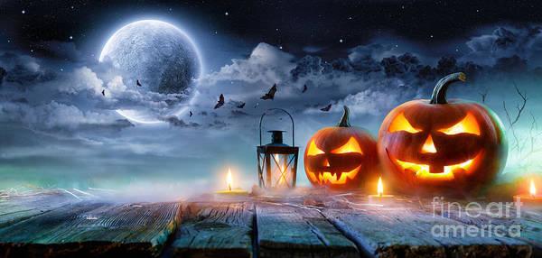 Jack O' Lanterns Glowing At Moonlight Poster