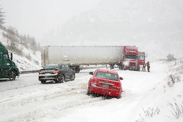 Jacknifed Truck Blocking Highway Poster