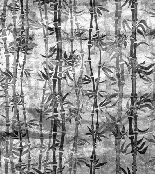 Japanese Bamboo Grunge Black And White Poster