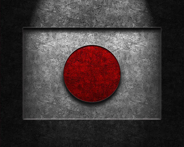 Poster featuring the digital art Japanese Flag Stone Texture by Brian Carson