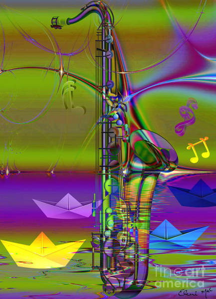 Poster featuring the digital art Jazz Chill by Eleni Mac Synodinos