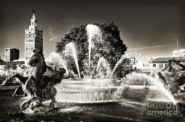 Jc Nichols Memorial Fountain Bw 1 Poster