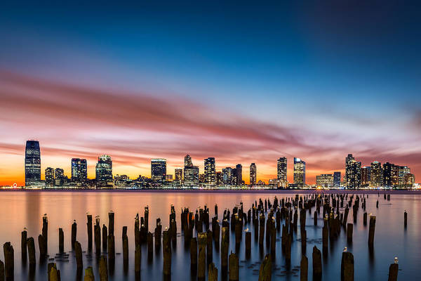 Poster featuring the photograph Jersey City Skyline At Sunset by Mihai Andritoiu