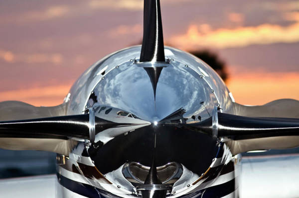 Airplane At Sunset Poster