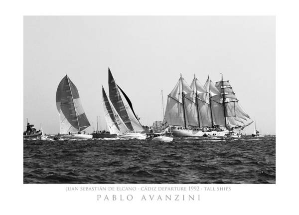 Juan Sebastian Elcano Departing The Port Of Cadiz Poster
