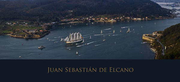 Juan Sebastian Elcano Departing The Port Of Ferrol Poster