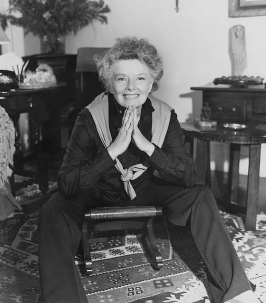 Katharine Hepburn Sitting In Her Apartment Poster