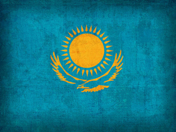 Kazakhstan Flag Vintage Distressed Finish Poster