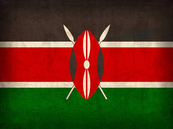 Kenya Flag Vintage Distressed Finish Poster