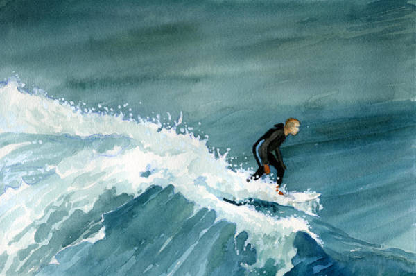 Kid Riding Wave Poster