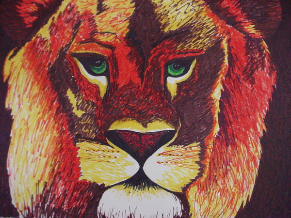 Lion In Orange Poster