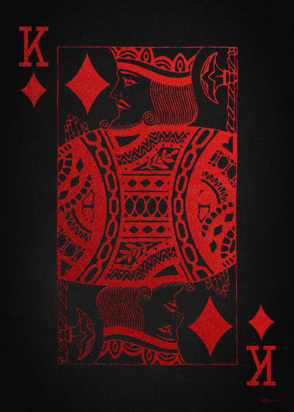 King Of Diamonds In Red On Black Canvas   Poster