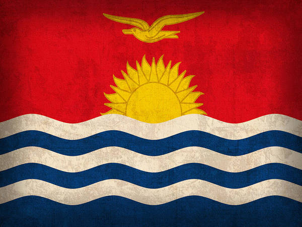 Kiribati Flag Vintage Distressed Finish Poster