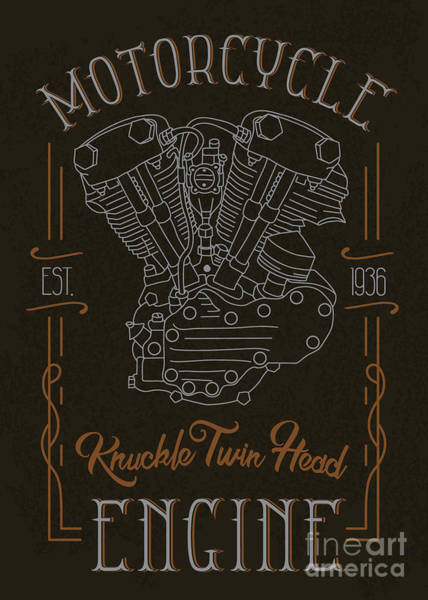 Knuckle Twin Head Motorcycle Engine Poster