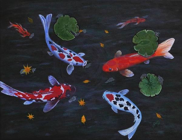 Koi Fishes Original Acrylic Painting Poster