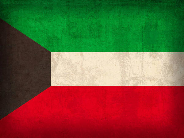 Kuwait Flag Vintage Distressed Finish Poster