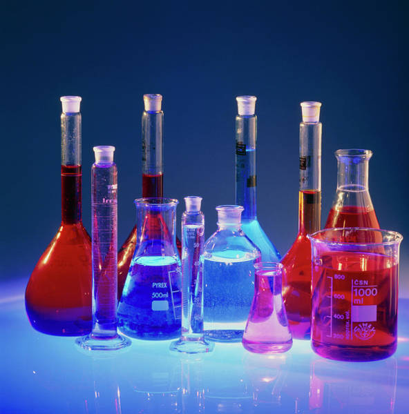 Laboratory Flasks Containing Chemical Solutions Poster