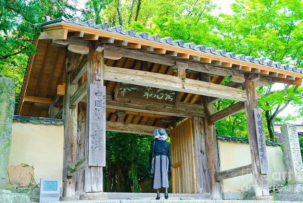 Lady Looking Up At The Impressive Woodwork Of A Japanese Temple Gate Poster
