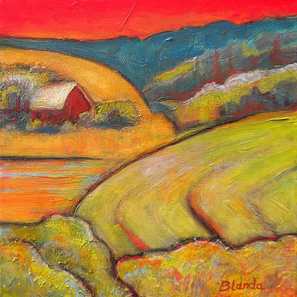Landscape Art Orange Sky Farm Poster