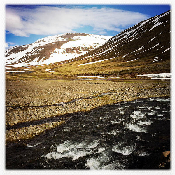 Landscape In North Iceland - River And Mountain Poster