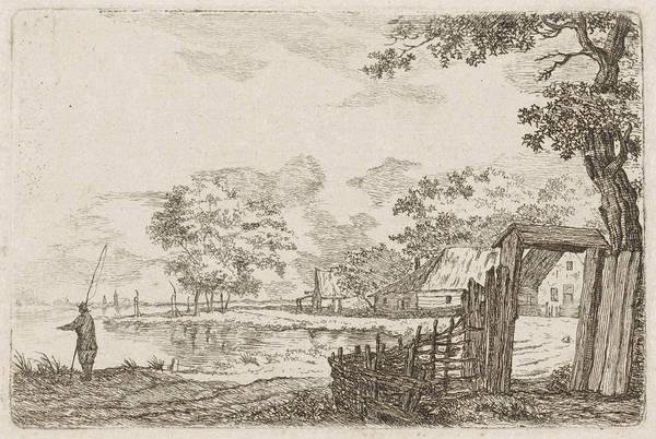 Landscape With Fisherman, Hendrik Marcus Schouten Poster