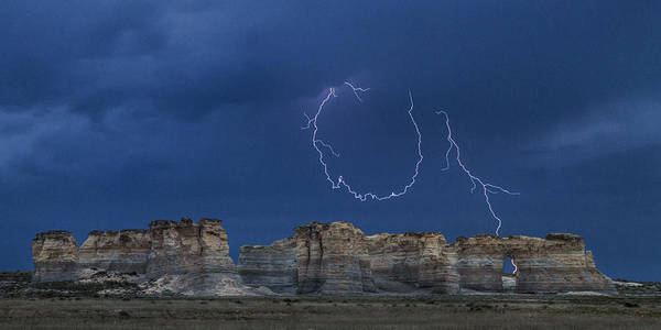 Lariat Lightning At Monument Rocks Poster