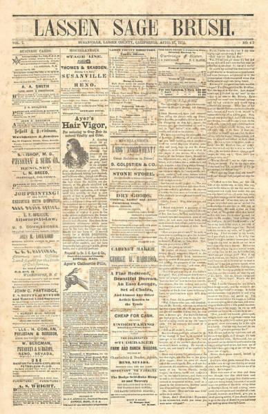 Lassen Sage Brush April 27th 1872 Poster