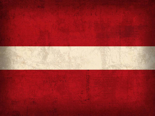 Latvia Flag Vintage Distressed Finish Poster