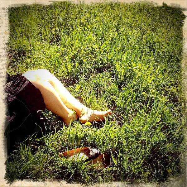 Legs Of A Woman And Green Grass Poster