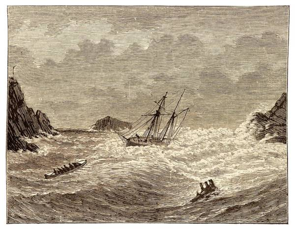 Lifeboat Approaching A Wreck Poster