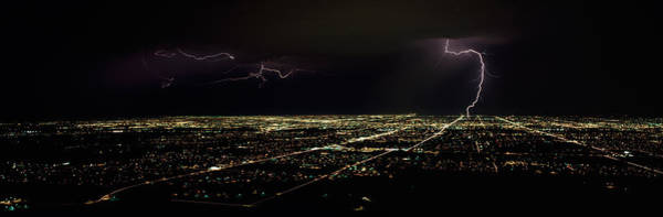 Lightning In The Sky Over A City Poster