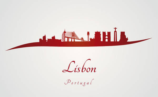 Lisbon Skyline In Red Poster